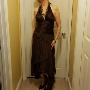 BCBG MAXAZRIA Brown Silk Halter Dress Sz M